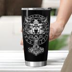Wolf Hammer Raven Valknut - Viking Tumbler