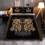 Fenrir Wolf And Hammer - Viking Quilt Bedding Set