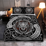 Fenrir Wolf With Norse Pattern - Viking Quilt Bedding Set