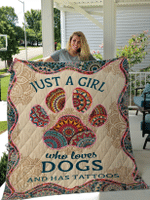 Just A Girl Who Loves Dog And Has Tattoos for Dogs Lovers Blankets / Quilts / Shower Custains
