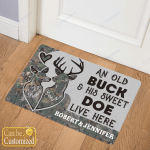 Personalized Doormats For Couples Buck Hunting Husband Wife