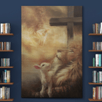 Jesus Christs Christians - Beautiful Lion And Lamb (Canvas, Posters, Puzzles, Blankets, Quilts, Shower Curtain)