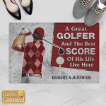 Golfer And The Best Score Couples Husband Wife Christs Christians Gifts Doormats Mats Canvases Pictures Puzzles Posters Quilts Blankets