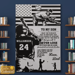 Personalized To My Son Never Lose Baseball Father's Day Gifts Canvases Posters Pictures Puzzles Quilts Blankets Shower Curtains Christ Christian