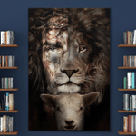 Jesus, Lion And Lamb (God - Christ - Christians Canvases, Posters, Pictures, Puzzles, Quilts, Blankets, Shower Curtains)