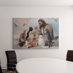 Jesus With Cats (God - Christ - Christians Canvases, Pictures, Puzzles, Posters, Quilts, Blankets)