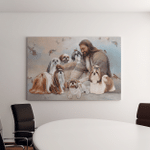 Jesus With Shih Tzu Dogs (God - Christ - Christians Canvases, Pictures, Puzzles, Posters, Quilts, Blankets)