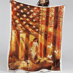 Jesus And Lamb America (Christs, Christians, Quilts, Blankets, Shower Curtains, Flags, Canvases, Posters, Pictures, Puzzles)