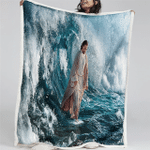 Jesus Walks On Water (Christ - Christians, Quilts, Blankets, Canvases, Posters, Puzzles, Shower Curtains, Tumblers, Phone Case)