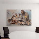 Jesus And German Shepherd Dogs (Jesus - Christs - Christians, Canvases, Pictures, Puzzles, Posters, Quilts, Blankets)