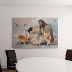 Jesus And Pomeranian Dogs (Jesus - Christs - Christians, Canvases, Pictures, Puzzles, Posters, Quilts, Blankets)