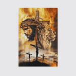 Jesus And Lion Stand With Cross (Christs - Christians, Canvases, Posters, Pictures, Puzzles, Quilts, Blankets, Shower Curtains, Led Lamp, Stickers)