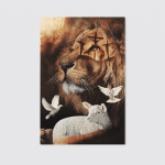 Jesus And Lion - Together With God I Have It All (Christ - Christians, Canvases, Pictures, Puzzles, Quilts, Blankets, Shower Curtains, Stickers)
