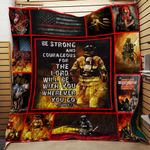 Firefighter be strong and courageous for the lord quilt