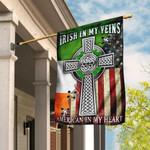 Irish In My Veins, American In My Heart. Celtic Knot Cross Flag THN2076F3