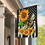 Bee Sunflower American Flag DDH1748F