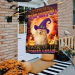 Halloween. Beware Of The Pomeranian Flag THB2504F20