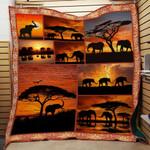 Elephant Sunset F1301 86O35 Blanket