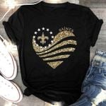 New Orleans Saints Gold Glitter Heart Shaped t shirt hoodie sweater