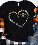 New Orleans Saints Geaux Saints Leopard Pattern Heart Shaped t shirt hoodie sweater