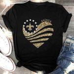 New Orleans Saints Gold Glitter Heart Shaped t shirt hoodie sweater