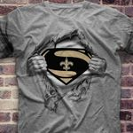 New Orleans Saints Superman Ripped t shirt hoodie sweater