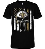 New Orleans Saints Punisher Skull Us Flag For Fan t shirt hoodie sweater
