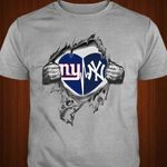 New York Giants New York Yankees Heartbeat Ripped t shirt hoodie sweater
