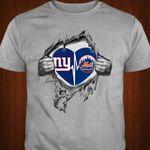 New York Giants New York Mets Heartbeat Love Ripped Black t shirt hoodie sweater