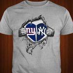 New York Giants New York Yankees Heartbeat Ripped t shirt hoodie sweater