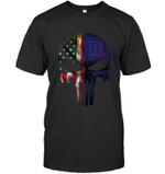 New York Giants Skull American Flag Black t shirt hoodie sweater