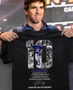 Eli Manning 10 New York Giants Legend Signature Career Record Thank You For The Memories t shirt hoodie sweater