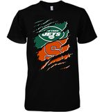 New York Jets With Syracuse Orange Ripped t shirt hoodie sweater