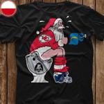 Kansas City Chief Santa Sits On Oakland Raiders Toilet Funny Christmas t shirt hoodie sweater