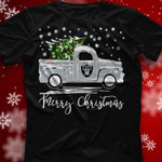 Oakland Raiders Merry Christmas Christmas Tree Truck t shirt hoodie sweater