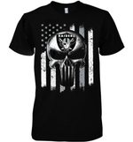 Oakland Raiders Punisher Skull Us Flag For Fan t shirt hoodie sweater