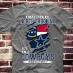 i may live in north carolina but im a dallas cowboys fan forever for football fan map logo t shirt hoodie sweater