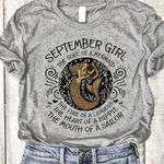 September girl the soul of mermaid fire of lioness heart of a hippie mouth of sailor t shirt hoodie sweater