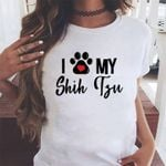 Funny i love my shih tzu heart dog paw for dog lover t shirt hoodie sweater