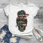 Old lady camo skull america flag for lovers t shirt hoodie sweater