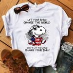 Snoopy US Flag Lert Your Smile ChangeWorld Don't LetWorld Change Your Smile t shirt hoodie sweater