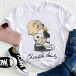 Charlie brown hug snoopy and woodstock charles schulz signed for fan t shirt hoodie sweater
