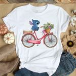 Stich on bicycle with flowers funny t shirt hoodie sweater