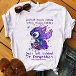 Suicide prevention stitch ohana means family family means nobody gets left behind or forgotten t shirt hoodie sweater