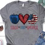 Teach love america us flag teacher sunflowers lovers t shirt hoodie sweater