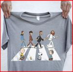 The beatles band with snoopy characters cartoon crosswalk abbey road t shirt hoodie sweater