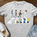 The beatles see snoopy woodstock and friends abbey the road funny for fan t shirt hoodie sweater