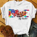 Love my trucker us flag heart t shirt hoodie sweater