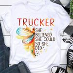 Trucker she believed she could so she did butterfly t shirt hoodie sweater