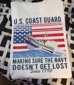 Vintage US Coast guard making sure the navy doesnt get lost since 1790 t shirt hoodie sweater